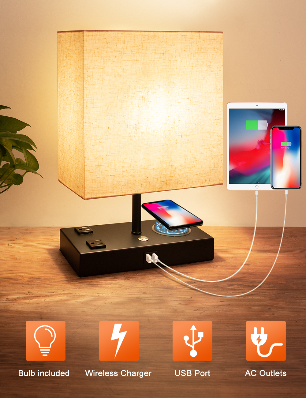Wireless Charger Modern USB Table Lamp