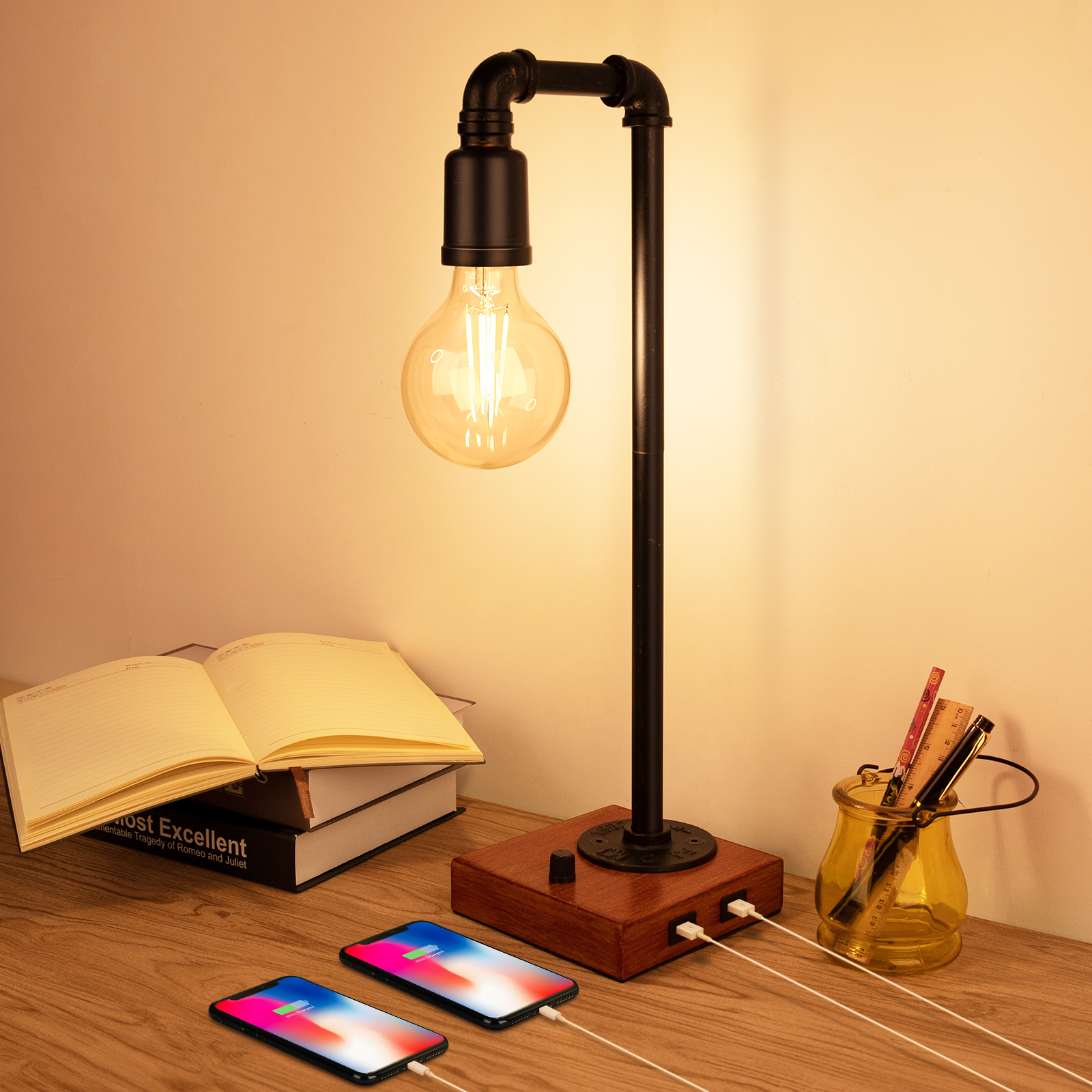 Rustic Steampunk Lamp with 2 USB Charging Port