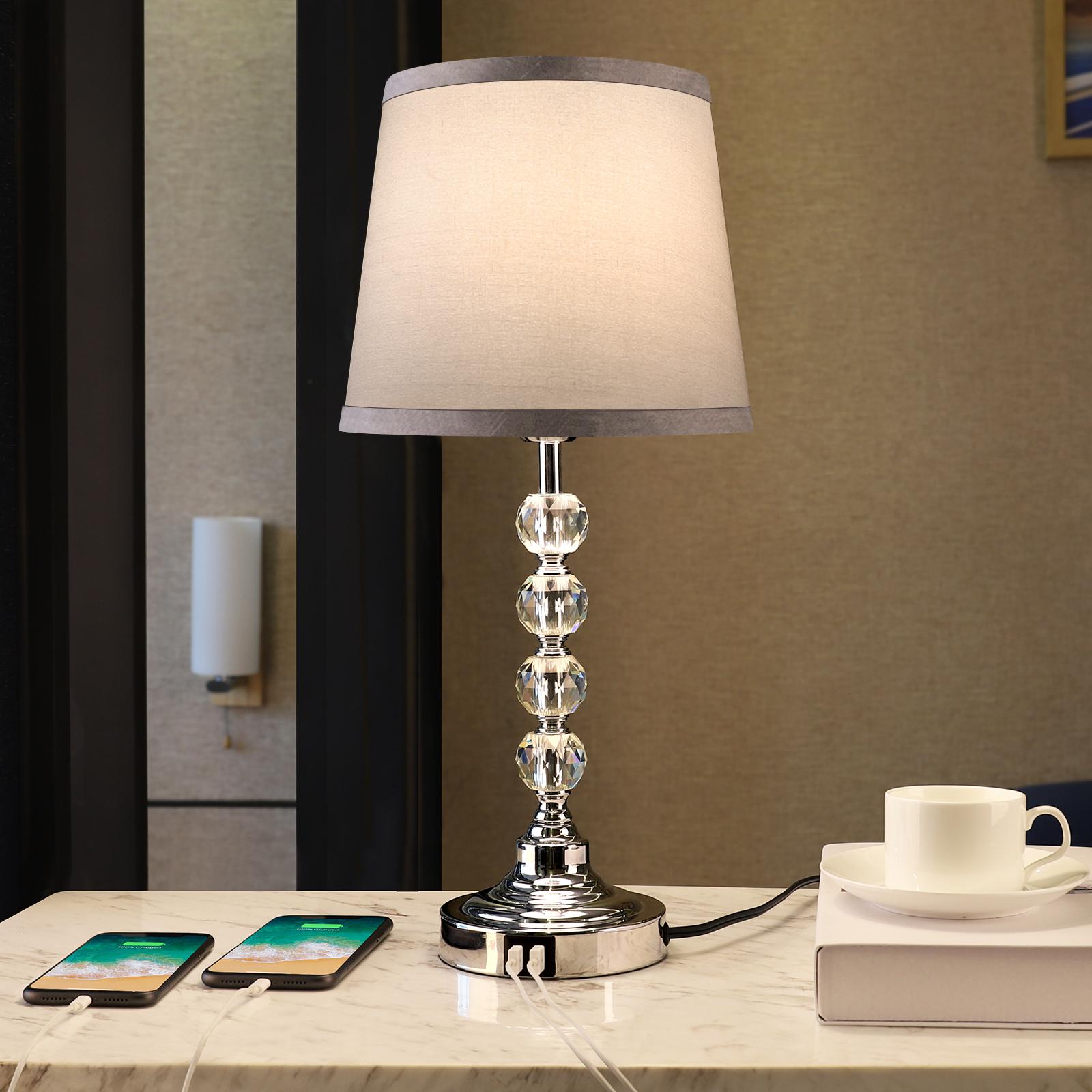 USB Tischlampe, Crystal Table Lamp Touch Control 3 Weg dimmbare Nachttischlampe mit 2 USB-Ladeanschlüsse, Moderne Nachttischlampe mit grauem Stoffschirm für Schlafzimmerlampen, Wohnzimmer, Studierzimmer, Büro